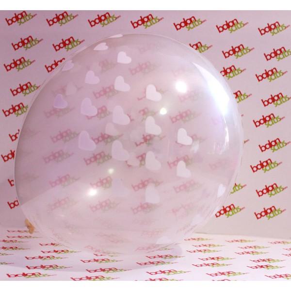 Beyaz Kalp Baskılı Şeffaf Balon