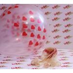 Kırmızı Kalp Baskılı Şeffaf Balon