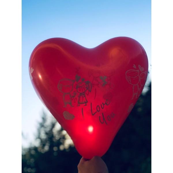 100 Adet I love You  Hazır Baskılı Balon