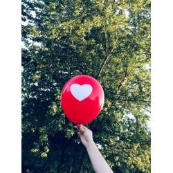 100 Adet Kırmızı Balona Beyaz Kalp Hazır Baskılı Balon